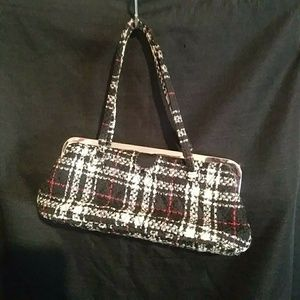 Vera Bradley plaid wool kisslock clutch handbag
